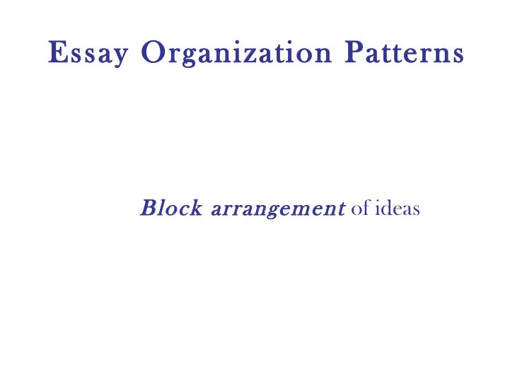 patterns of organization in essays Check out the full course at transcript: when you write your essay it's very important that you organize your ideas, just like it's importa.