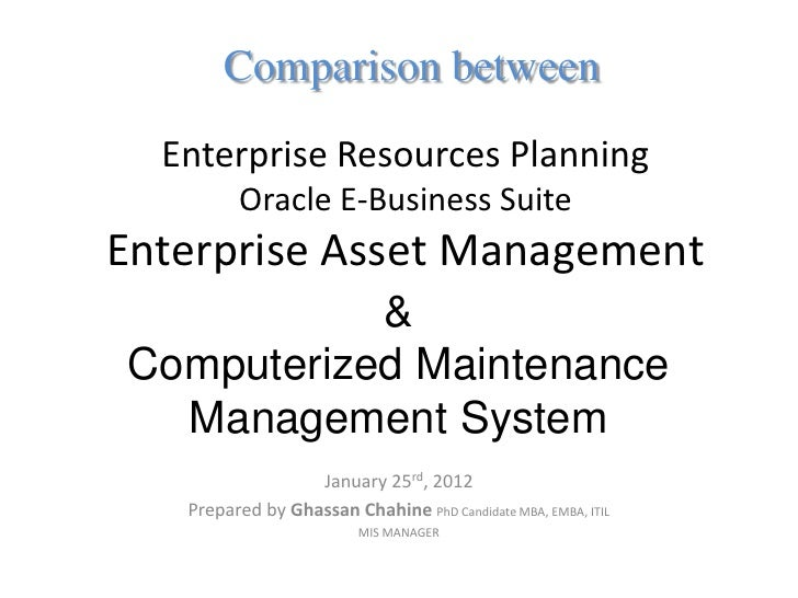 Comparison between ERP-EAM and CMMS