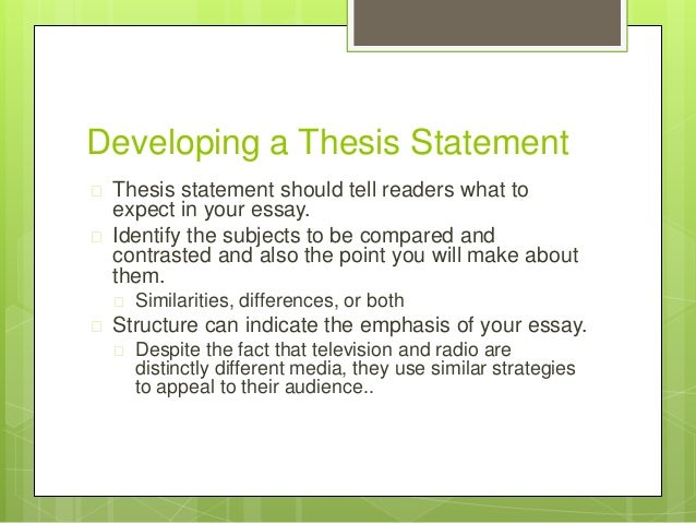 A thesis statement for a compare/contrast essay