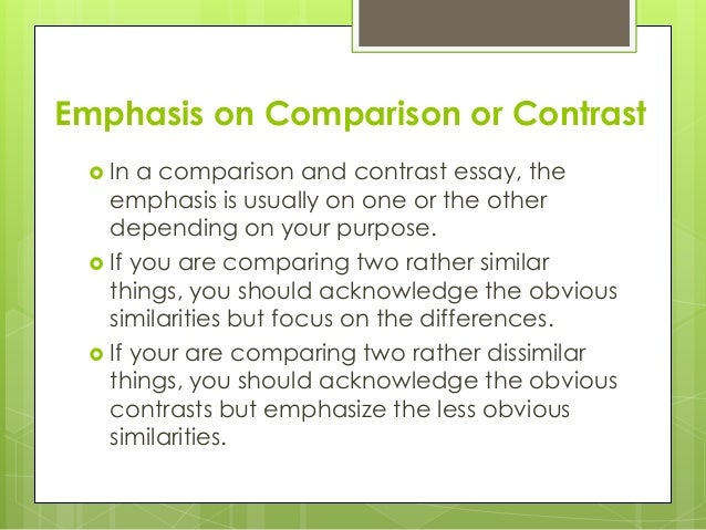 comparing two cds essay This handout will help you determine if an assignment is asking for comparing and contrasting, generate similarities and differences one of the most common is the comparison/contrast.