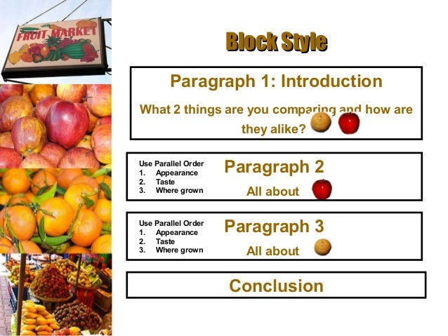 compare contrast essay block method Arranging details in comparison and contrast essays ordering detail in a comparison-contrast essay requires some thought in general, the block method works better for essays with fewer points of comparison or contrast that are not extensively developed.