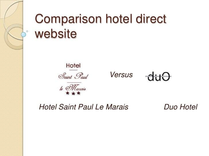 Comparison hotel direct website<br />Versus<br />Hotel Saint Paul Le MaraisDuo Hotel <br />