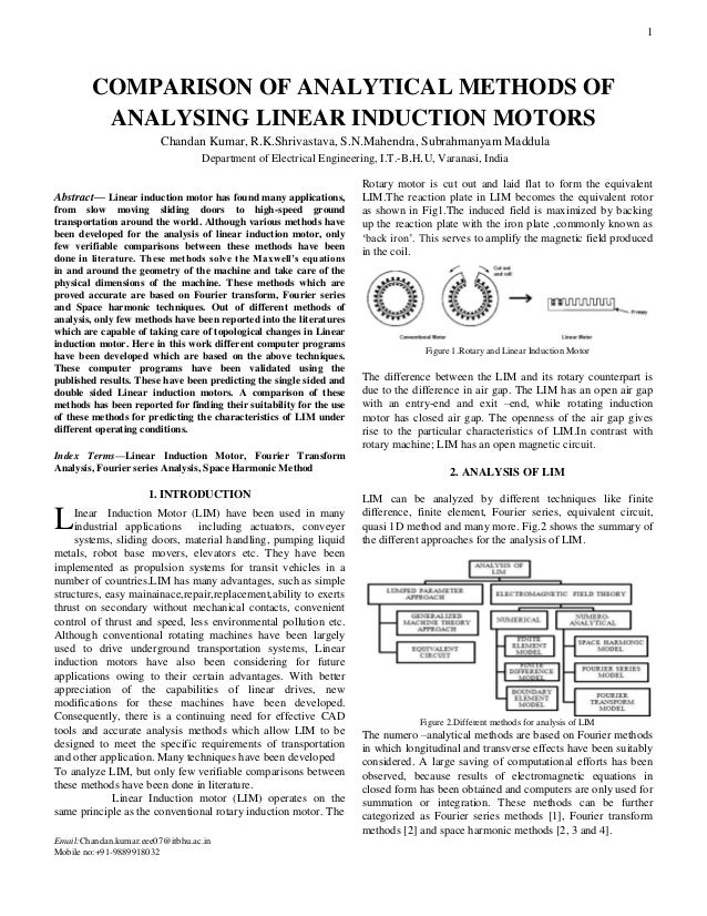 Comparison of analytical methods of analysing linear induction motors