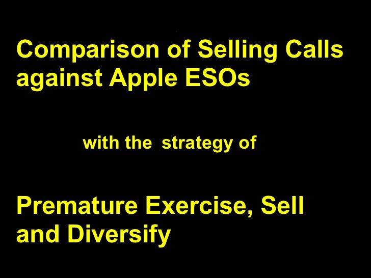 .Comparison of Selling Callsagainst Apple ESOs     with the strategy ofPremature Exercise, Selland Diversify