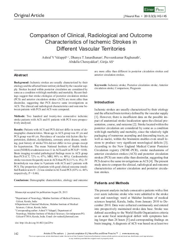 Elmer Press  Original Article  J Neurol Res • 2013;3(5):142-145  Comparison of Clinical, Radiological and Outcome Characte...