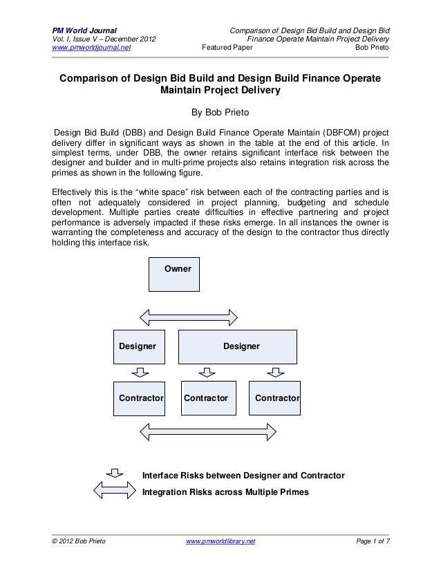Comparison of Design Bid Build vs. Design Build Finance Operate & Maintain