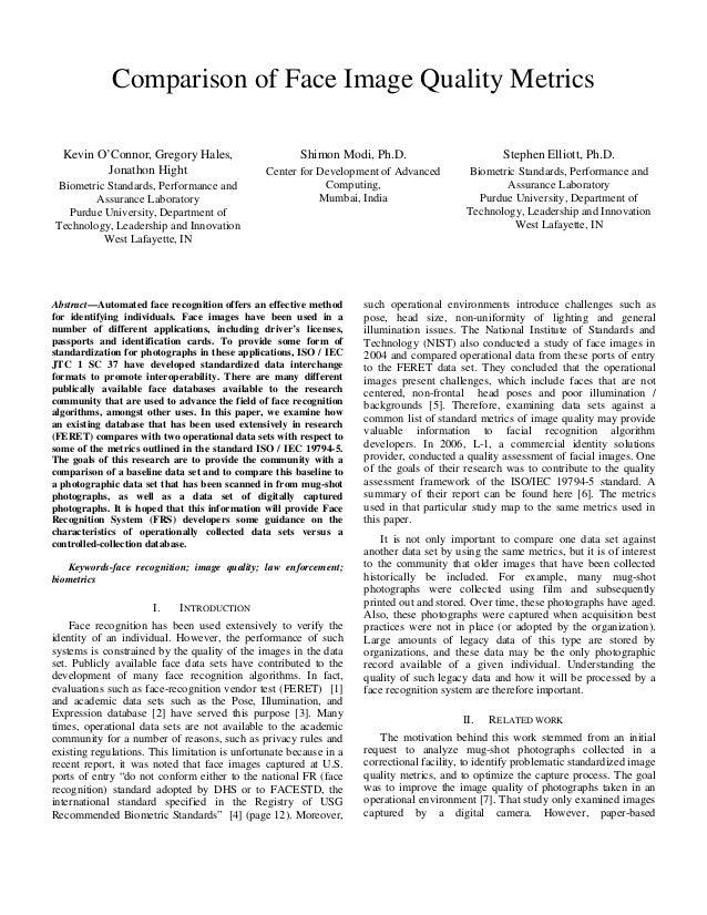 (2011) Comparison of Face Image Quality Metrics