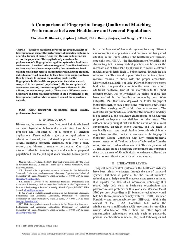 A Comparison of Fingerprint Image Quality and Matching                 Performance between Healthcare and General Populati...