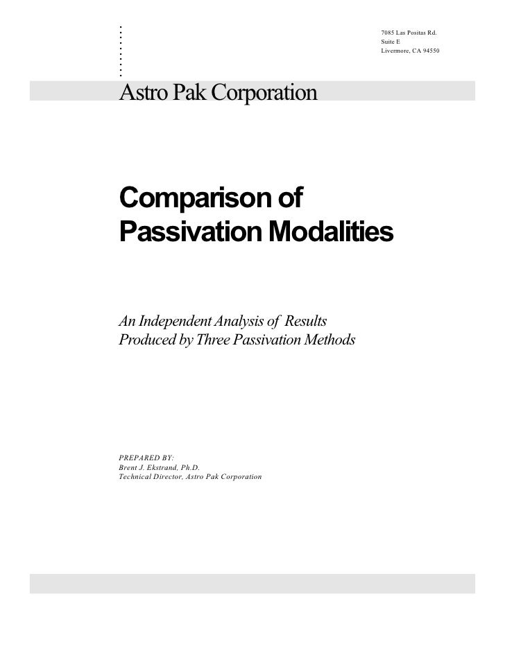 Comparison Of Passivation Modalities By Brent Ekstrand Of Astro Pak