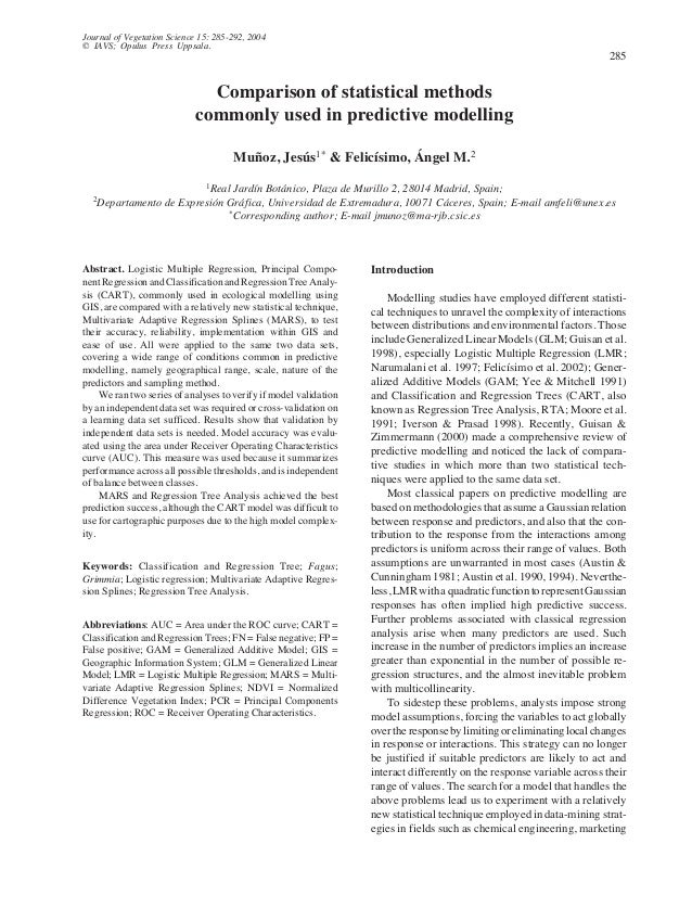 Comparison of statistical methods commonly used in predictive modeling