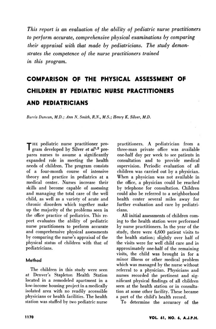 Comparison Of The Physical Assessment Of Children By A Pediatric Nurse