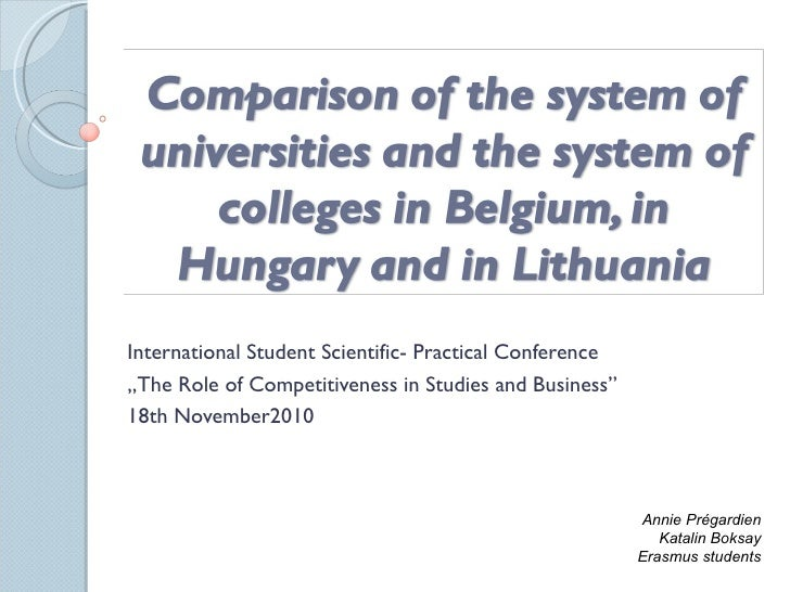 Comparison of the system of universities and the 2