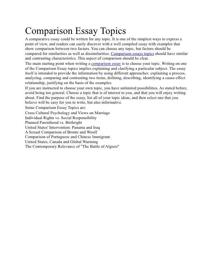 Buy compare contrast essay ideas