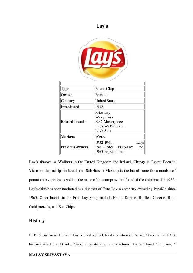 a research analysis of wow chips of frito lay inc Frito-lay, inc: sun chips tm multigrain snacks executive summary frito-lay, inc has been developing multigrain chips since the early 1970s after marketing research found that consumers.