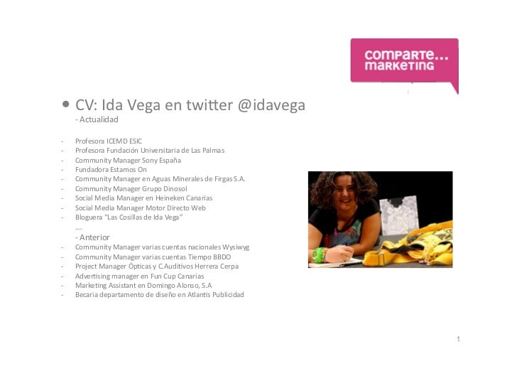 CV: Ida Vega en twi.er @idavega     -‐ Actualidad -‐   Profesora ICEMD ESIC -‐   Profesora...