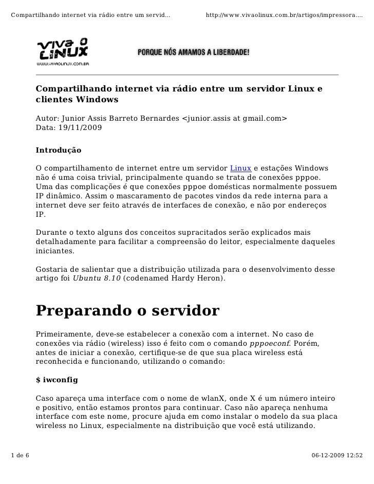 Compartilhando internet via rádio entre um servid...   http://www.vivaolinux.com.br/artigos/impressora....              Co...