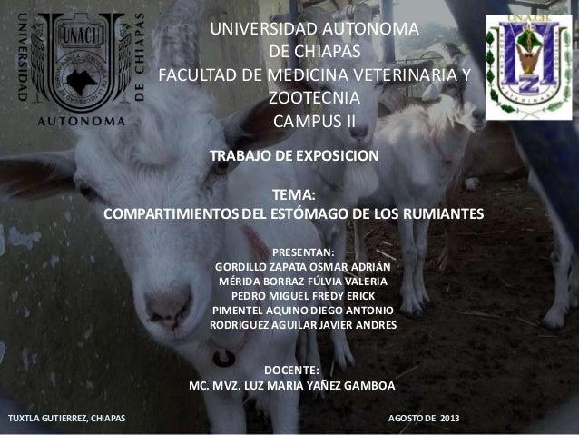 UNIVERSIDAD AUTONOMA DE CHIAPAS FACULTAD DE MEDICINA VETERINARIA Y ZOOTECNIA CAMPUS II TRABAJO DE EXPOSICION TEMA: COMPART...