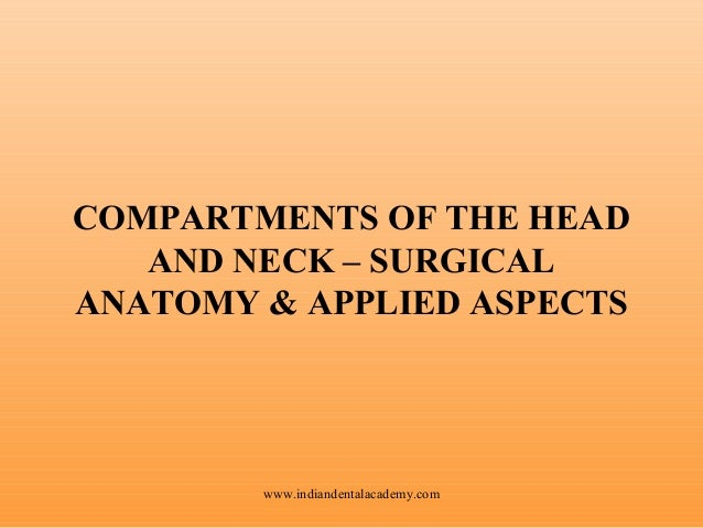 COMPARTMENTS OF THE HEAD AND NECK – SURGICAL ANATOMY & APPLIED ASPECTS  www.indiandentalacademy.com