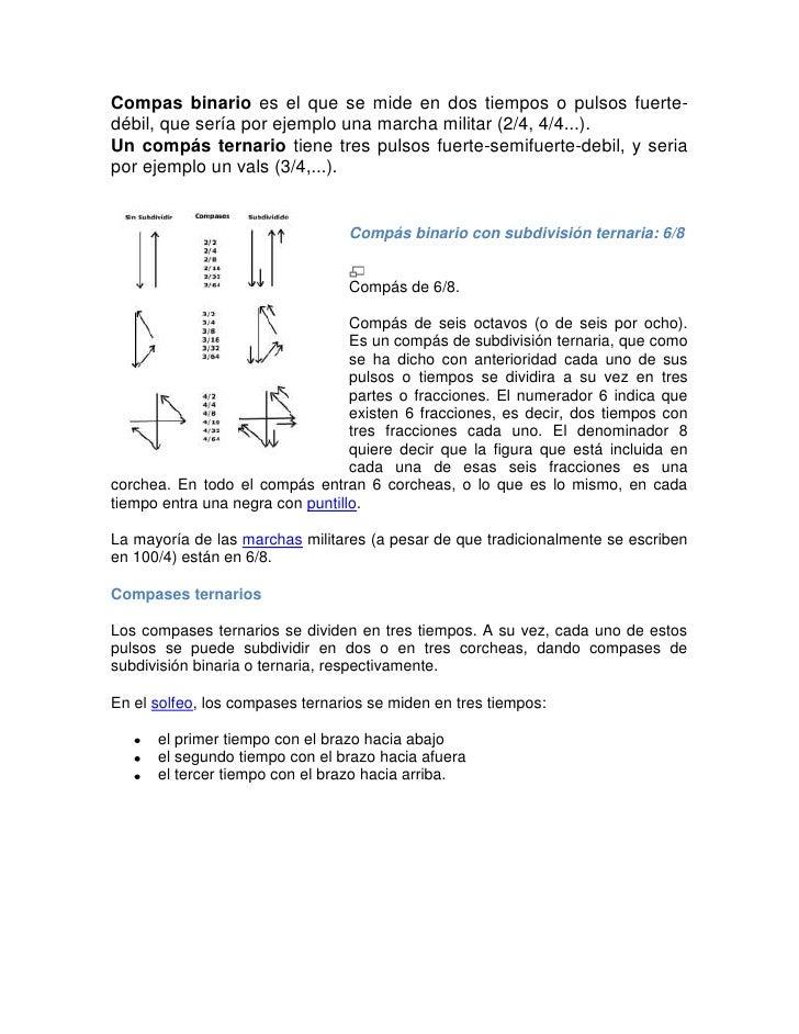 Compas binario es el que se mide en dos tiempos o pulsos fuerte-débil, que sería por ejemplo una marcha militar (2/4, 4/4....
