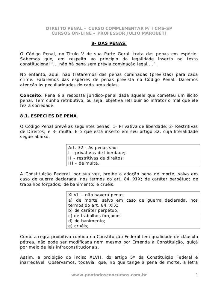DIREITO PENAL – CURSO COMPLEMENTAR P/ ICMS-SP              CURSOS ON-LINE – PROFESSOR JULIO MARQUETI                      ...