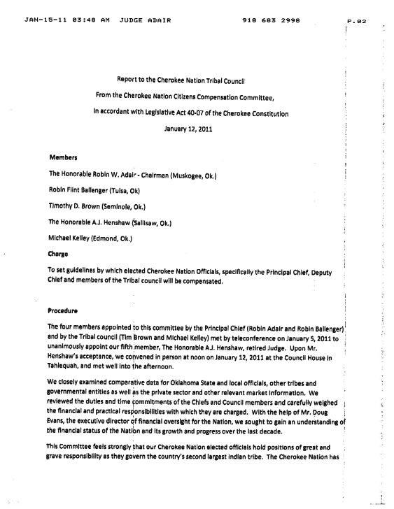 Cherokee Nation Citizen\'s Compensation Committee Report