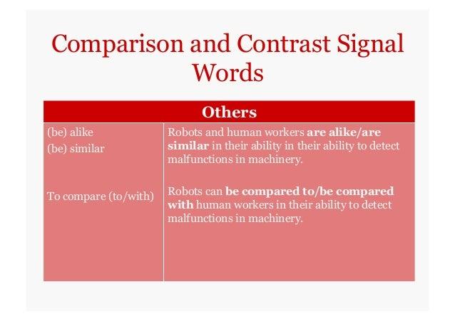 Comparison words for essays