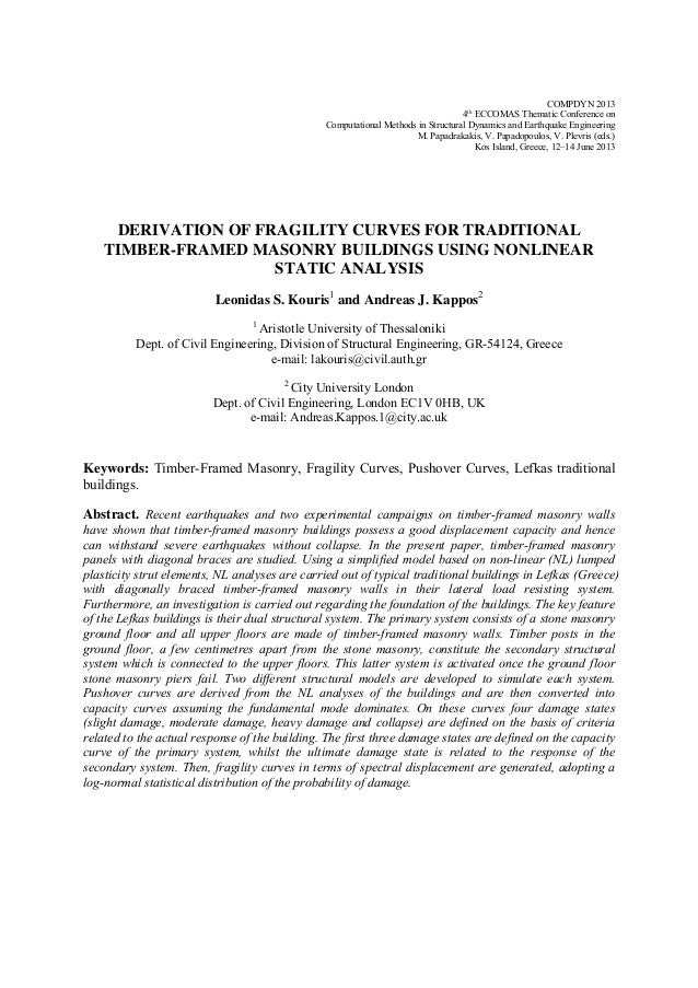COMPDYN 2013 4th ECCOMAS Thematic Conference on Computational Methods in Structural Dynamics and Earthquake Engineering M....