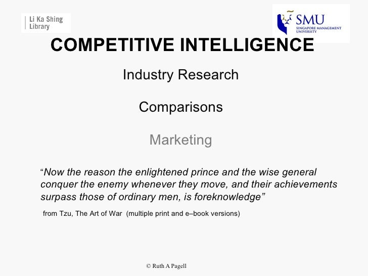 Competitive intelligence -  industry research and benchmarking