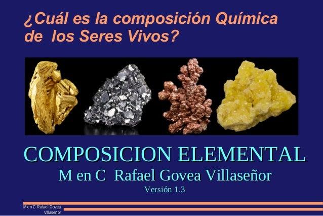 M en C Rafael GoveaM en C Rafael Govea VillaseñorVillaseñor ¿Cuál es la composición Química de los Seres Vivos? COMPOSICIO...