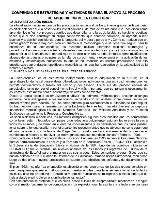 COMPENDIO DE ESTRATEGIAS Y ACTIVIDADES PARA EL APOYO AL PROCESO DE ADQUISICIÓN DE LA ESCRITURA LA ALFABETIZACIÓN INICIAL L...