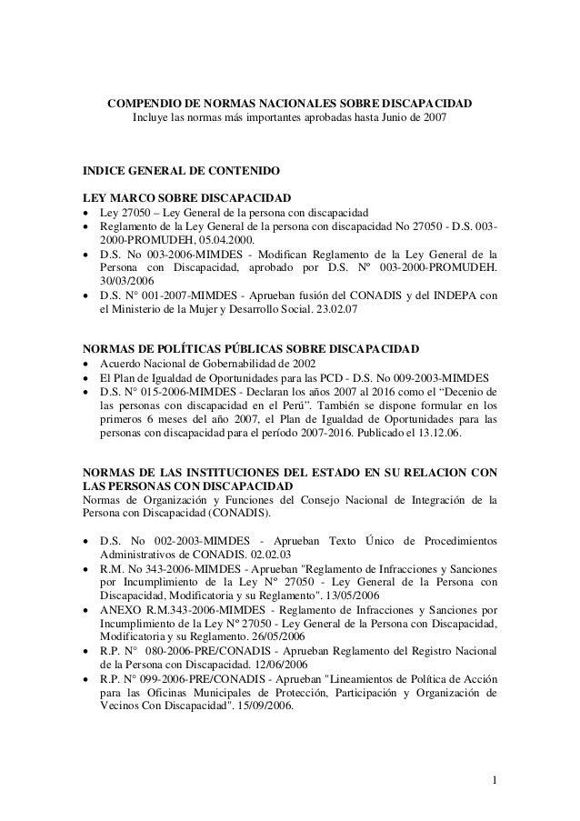 COMPENDIO DE NORMAS NACIONALES SOBRE DISCAPACIDAD        Incluye las normas más importantes aprobadas hasta Junio de 2007I...