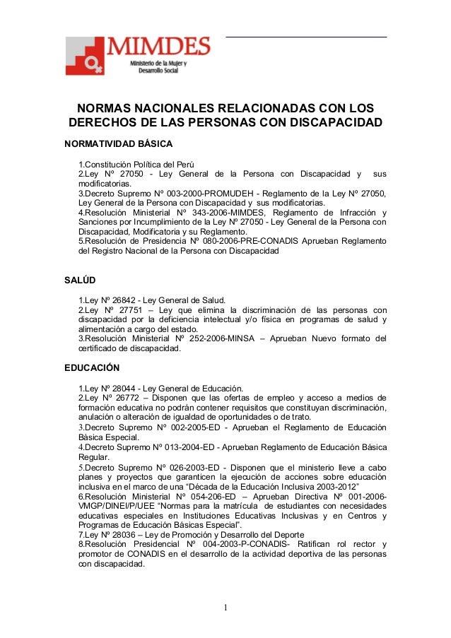 NORMAS NACIONALES RELACIONADAS CON LOSDERECHOS DE LAS PERSONAS CON DISCAPACIDADNORMATIVIDAD BÁSICA  1.Constitución Polític...