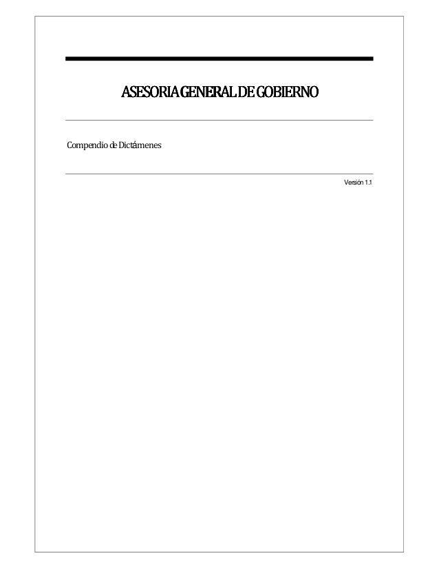 ASESORIAGENERALDEGOBIERNO  Compendio de Dictámenes  Versión 1.1