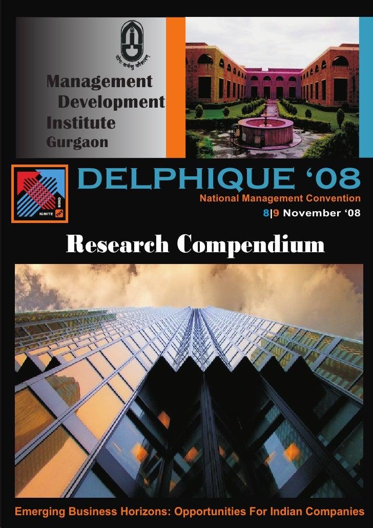 Management        Development      Institute      Gurgaon            DELPHIQUE '08         National Management Convention ...