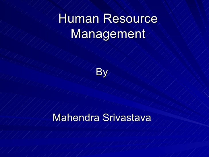Human Resource Management By Mahendra Srivastava