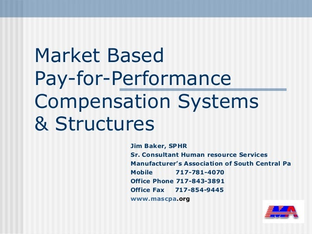 Market BasedPay-for-PerformanceCompensation Systems& Structures        Jim Baker, SPHR        Sr. Consultant Human resourc...