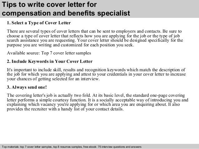 compensation and benefits specialist cover letter