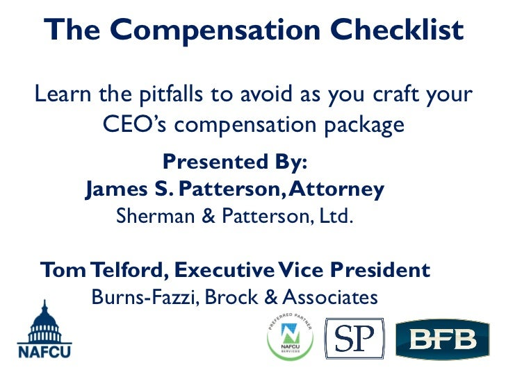 Executive Compensation Checklist for New and Experienced Board Members (Credit Union Conference Presentation Slides)