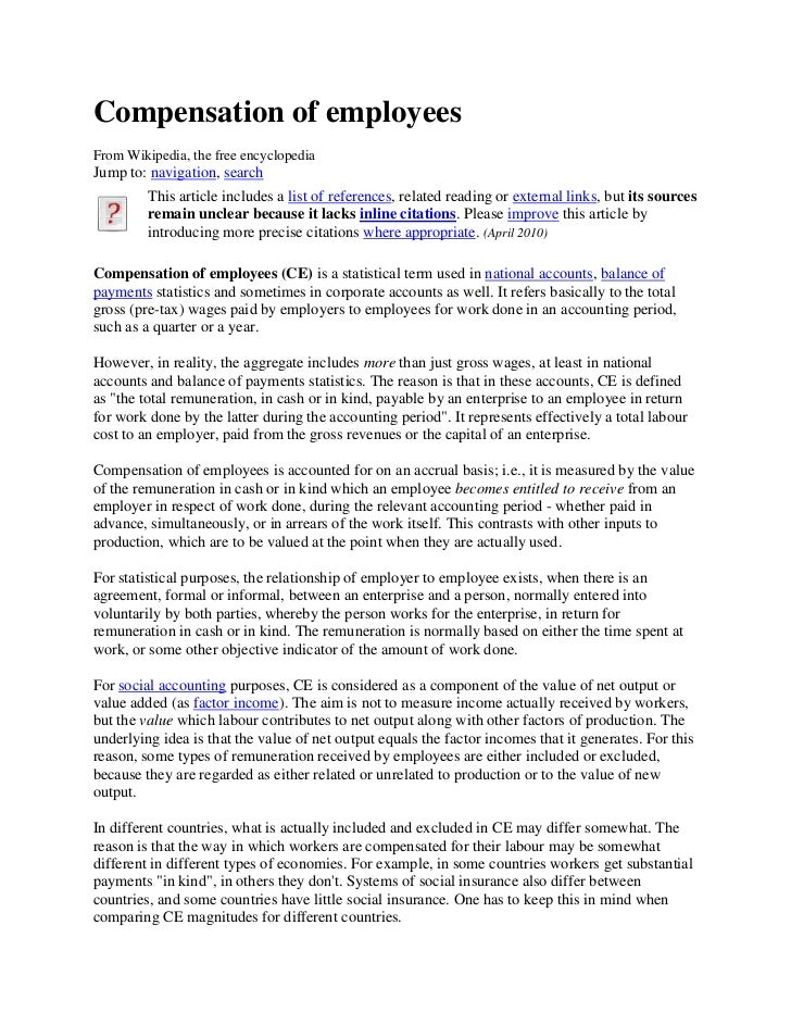 Compensation of employees<br />From Wikipedia, the free encyclopedia<br />Jump to: navigation, search<br />This article in...
