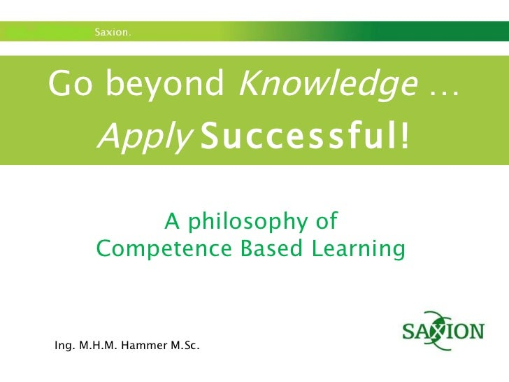 Go beyond  Knowledge  … Apply   Successful! A philosophy of  Competence Based Learning  Ing. M.H.M. Hammer M.Sc.