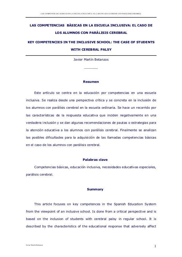 LAS COMPETENCIAS BÁSICAS EN LA ESCUELA INCLUSIVA: EL CASO DE LOS ALUMNOS CON PARÁLISIS CEREBRAL  LAS COMPETENCIAS BÁSICAS ...