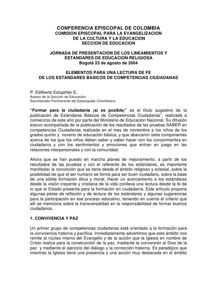 CONFERENCIA EPISCOPAL DE COLOMBIA               COMISION EPISCOPAL PARA LA EVANGELIZACION                      DE LA CULTU...