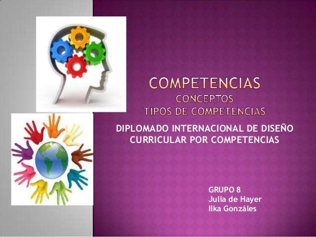 DIPLOMADO INTERNACIONAL DE DISEÑO CURRICULAR POR COMPETENCIAS GRUPO 8 Julia de Hayer Ilka Gonzáles