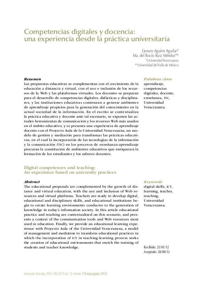 Innovación Educativa, ISSN: 1665-2673 vol. 12, número 59 | mayo-agosto, 2012 | Competencias digitales y docencia: una expe...