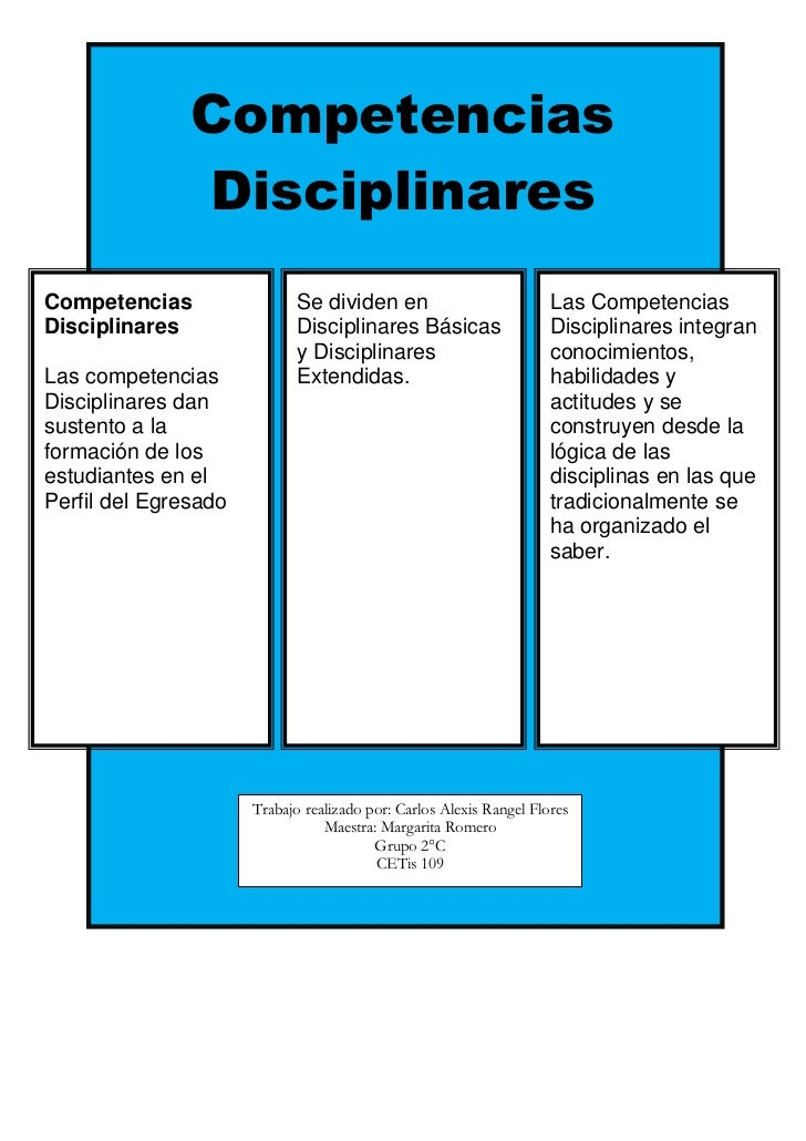 Competencias               DisciplinaresCompetencias                 Se dividen en                           Las Competenc...