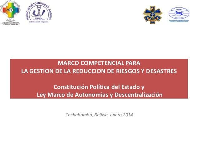 MARCO COMPETENCIAL PARA LA GESTION DE LA REDUCCION DE RIESGOS Y DESASTRES Constitución Política del Estado y Ley Marco de ...