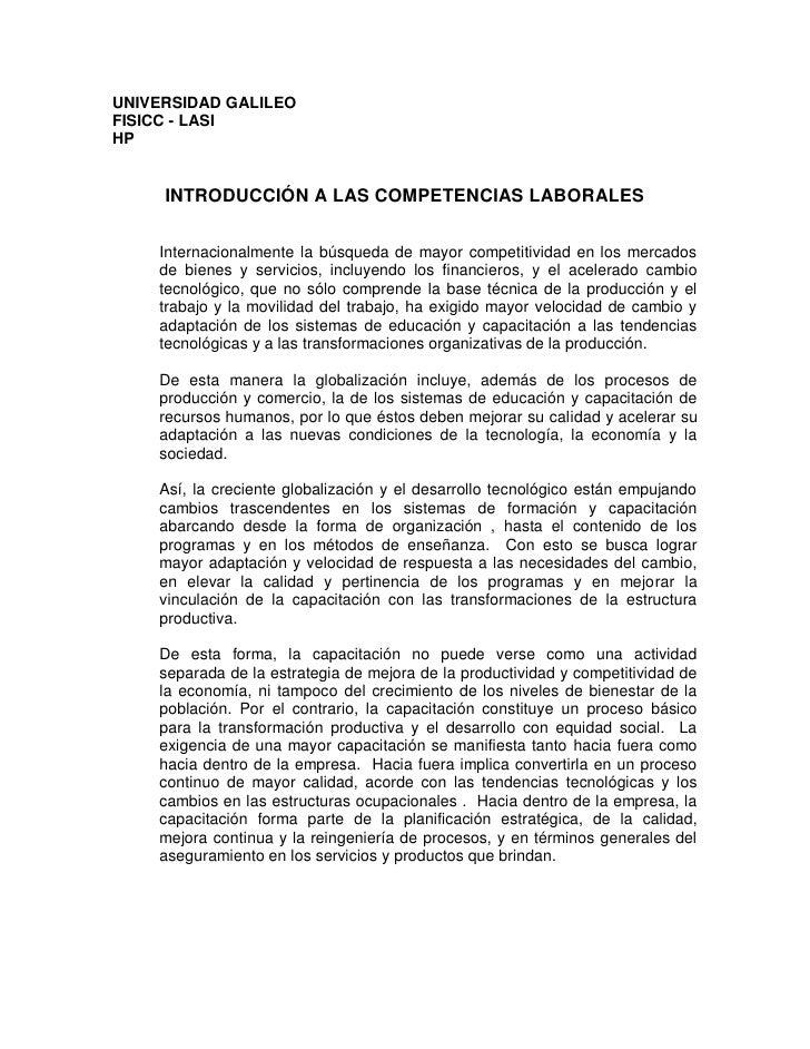 UNIVERSIDAD GALILEO FISICC - LASI HP        INTRODUCCIÓN A LAS COMPETENCIAS LABORALES       Internacionalmente la búsqueda...