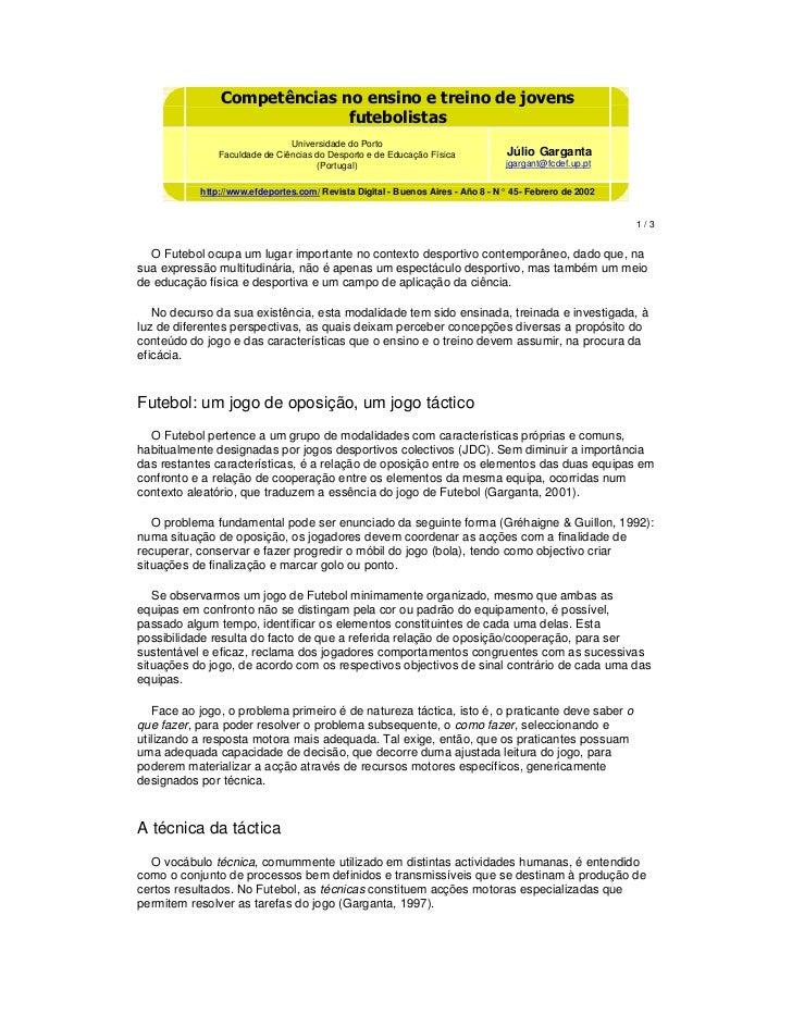 Competencias no ensino e treino de jovens futebolistas (julio garganta)