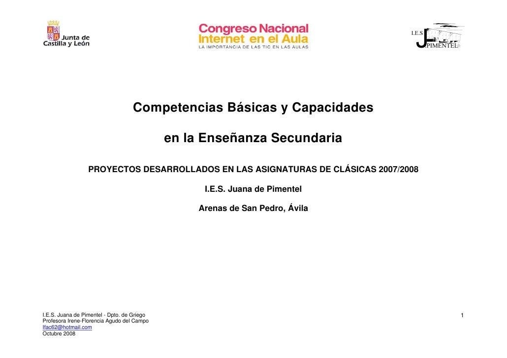 Competencias Básicas y Capacidades                                               en la Enseñanza Secundaria               ...