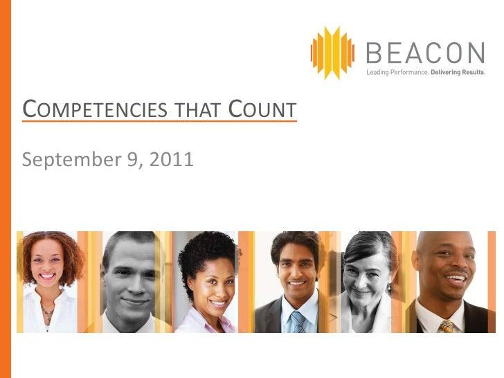 COMPETENCIES THAT COUNTSeptember 9, 2011